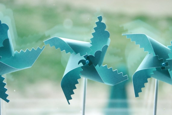 Robins Egg Blue Wedding Pinwheel Favors 12 - mini pinwheels (Custom orders welcomed)
