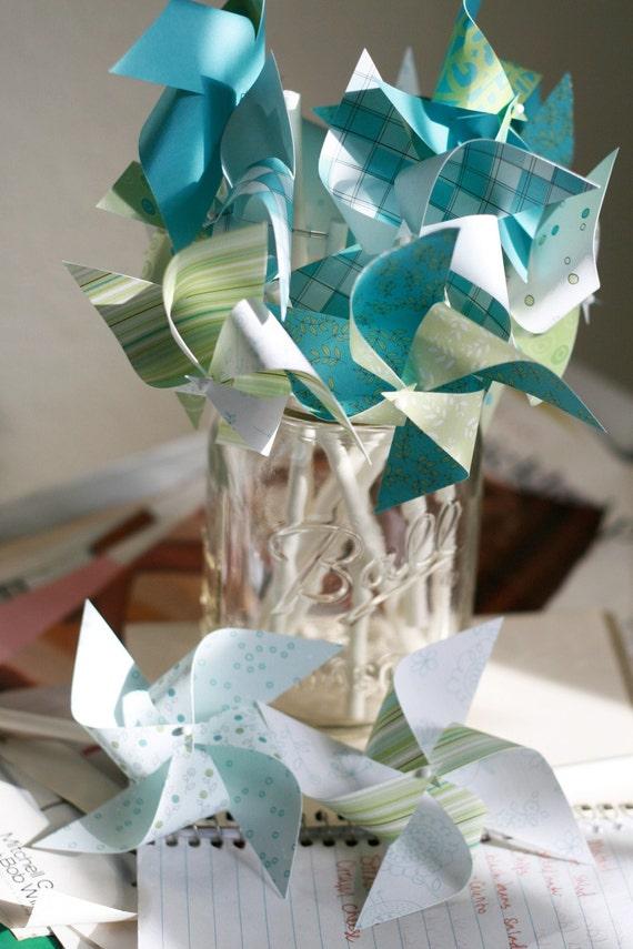 Wedding Pinwheels 12 Mini Pinwheels Ocean Love  (Custom orders welcomed)