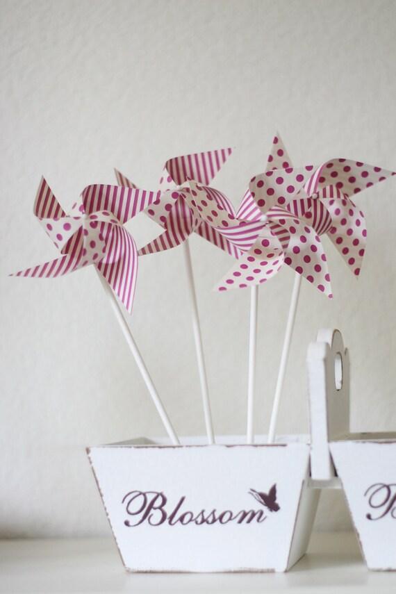 Escort cards Favor Polka Dot and Stipes Pinwheels Wedding Favor 12 Mini Spinnable Pinwheels (custom orders welcomed)