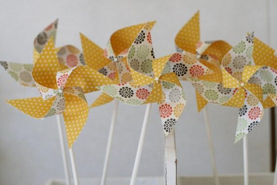 Cupcake topper Pinwheels 12 Mini Pinwheels Yellow Sunrise SALE (custom orders welcomed)