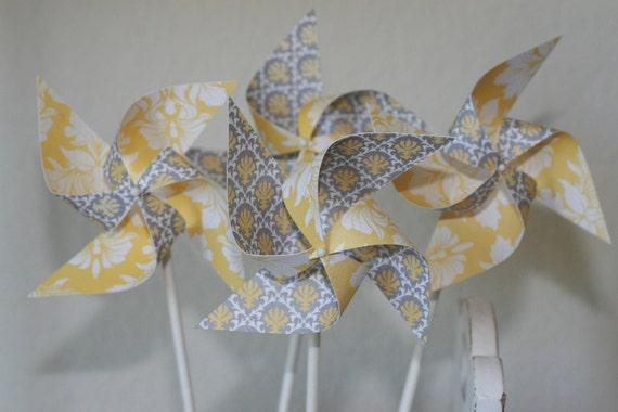 Wedding favor Yellow/Grey -12 Mini Pinwheels (Custom orders welcomed) Faded sun