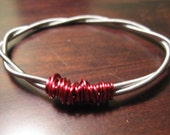 Braided Bass Guitar String Bracelet Red accent