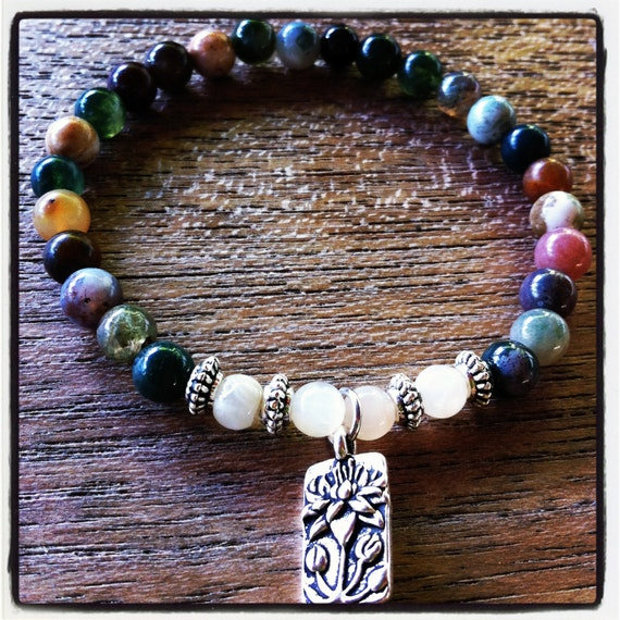 Sale Clearance Gemstone bracelet with Jasper, Moonstone, and a lotus blossom charm