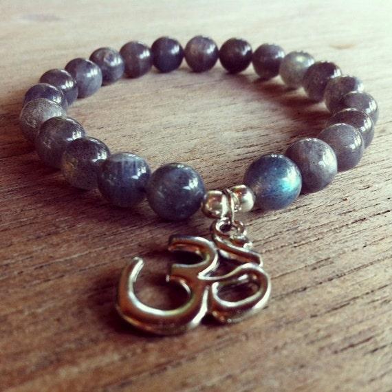 Mala Bracelet Natural Labradorite Gemstone and OM Charm, Meditation, Yoga, Chakra, Buddhism, Hinduism, Mantra