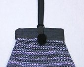 Hand Woven pink and gray purse, hand made, handwoven