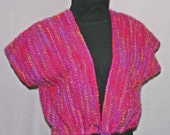 Hand Woven pink wool fiesta vest, handwoven, hand made on sale