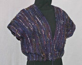 Hand Woven purple wool boucle vest, handwoven, hand made now on sale