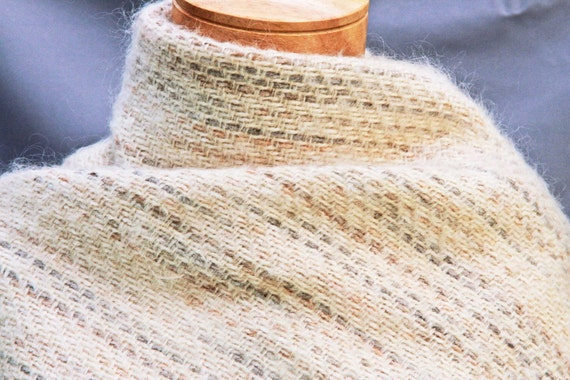 Handwoven white mohair shawl, hand woven, hand made