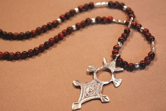 Tuareg Croix du Sud Necklace with Red Tiger Eye Beads