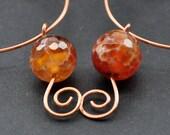 Bohemian Beaded Hoops, Copper Hoop Earrings, Orange Agate Gemstones, Mixed Metal Wire Jewelry