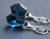 Navy Blue Earrings, Dangle Crystal Teardrops, Sterling Silver Spirals, Celtic Jewelry