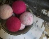 Wool Dryer Balls, set of 8 Pinks Free Shipping to USA