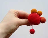Scarlet, cinnamon and spice Modernist wool felt pin - Red Atomic