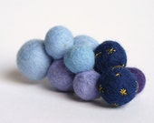 A blue and purple cluster wool felt pin embroidered with gold stars - Starry Starry Night brooch