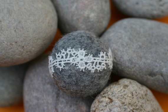 Romantic ivory lace on grey wool pebble brooch - To the Lighthouse