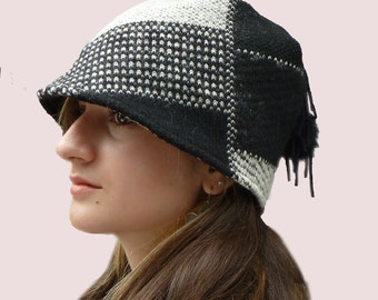 Plaid Blocks Black and White Beanie Hat, Fitted Cloche with Small Brim in Chunky Wool Knit with Real Fur Pompom