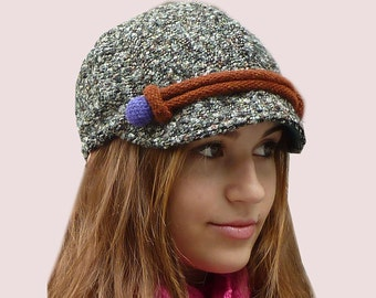 Active Weekend Newsboy Cap, Knit Beanie Hat with Visor in Grey Wool and Mohair Boucle Tweed With Colorful Trim