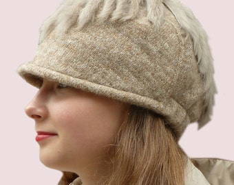 Follow Me Beanie Cap, Winter Skiing Newsboy Hat in Light Brown Taupe  Beige Wool Knit with Real Rabbit Fur Fringe