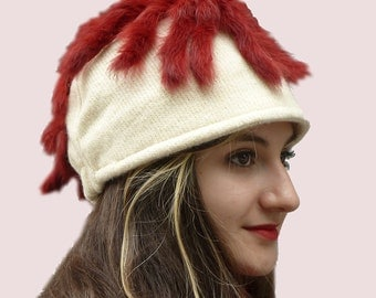 Follow Me Beanie Cap, Skiing Newsboy Hat in Winter White Cream Chunky Wool Knit with Real Red Rabbit Fur