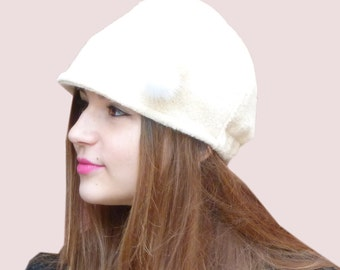 Preppy Beanie Cap, Soft and Stretchy Cloche Hat in Cream Winter White Alpaca and Wool Chunky Knit with Real Fur Pompoms Pin