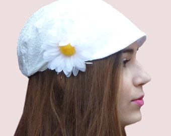 White Newsboy Cap With Daisy Pin in Cotton Seersucker. SOLD OUT. Available by Custom Order.