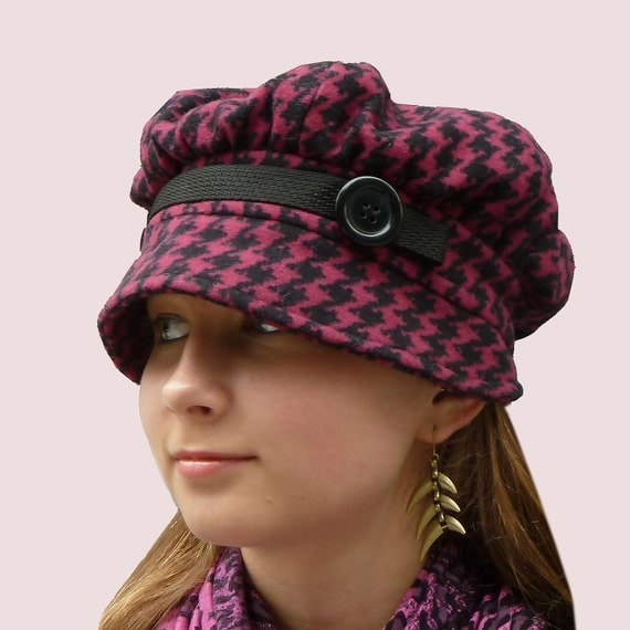 Country Diva Newsboy Cap,Brimmed Beret Shape in Black and Burgundy Houndstooth Wool Knit with Front Tab and Buttons Trim, Soft and Stretchy