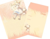 Letter Set Alice in Wonderland Manga Look on Apricot Background with White Bunny for Kawaii Lovers