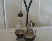 Petite Castor Cruet Set with Three Crystal Jars and Antique Silver Plated Holder