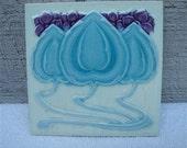 Antique Ceramic Tile Art Nouveau Decorative Architectural Salvage, Robins Egg Blue and  Plum Purple