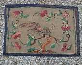 Antique Primitive Hooked Rug with Pheasant Bird in Tree FOLK ART