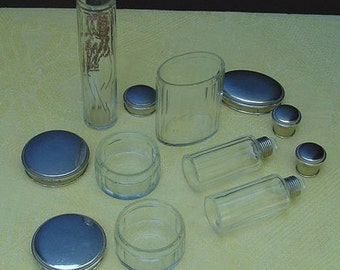 Antique French Toiletry Set, Panel Glass Jars, powder, perfume with Silver and Ebony