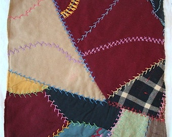 "Vintage Crazy Quilt with Fancy Embroidery, 16"" Square for Pillows or Crafting"