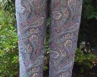 Ladies Cotton Slacks, Preppy Paisley Blue Print Pants Size 0 X-Small