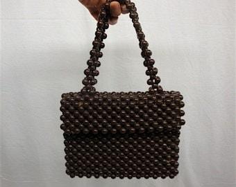 Vintage Beaded Bag, 1960s-70s Brown Handbag Italy