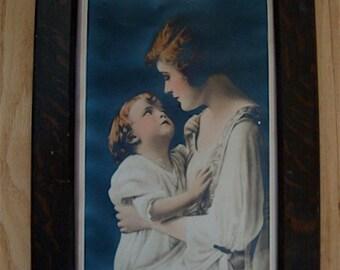 Arts & Crafts Quartersawn Oak Wooden Picture Frame Mission with 1920s Portrait