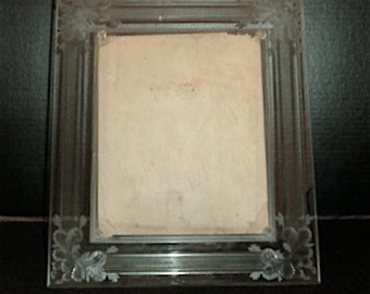 Cut Crystal Frame for Wedding Portrait 8 x 10, Antique circa 1900