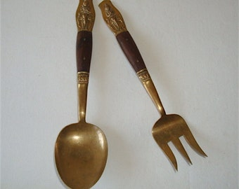 vintage Siam Thailand Serving Utensils, Large Brass Fork & Spoon, Asian Mid-Century Modern