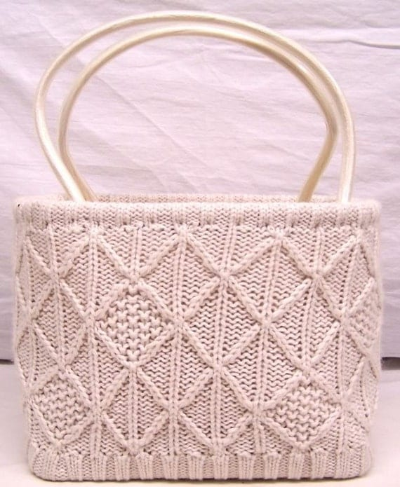 Knitted Benetton Handbag in Ivory Fisherman Sweater Cable Knit
