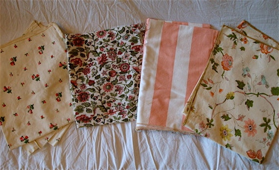 PINK Vintage Printed Cotton Floral and Stripe Fabric Remnant Scraps Lot