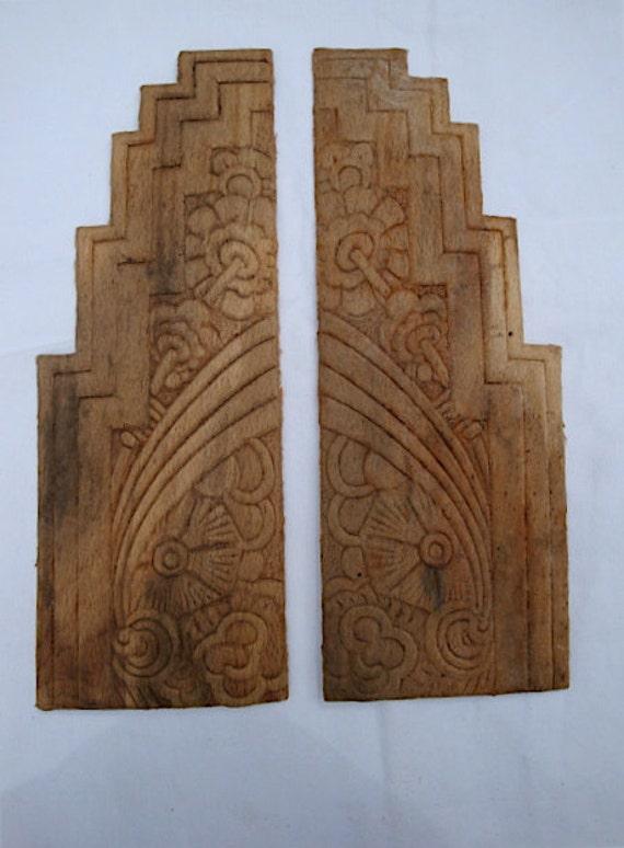 carved wood furniture appliques art deco era lot a. Black Bedroom Furniture Sets. Home Design Ideas
