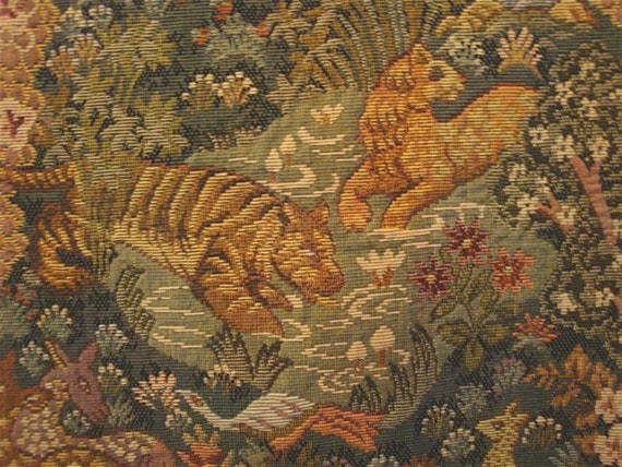 Medieval Tapestry Print Fabric With Animals In The Forest