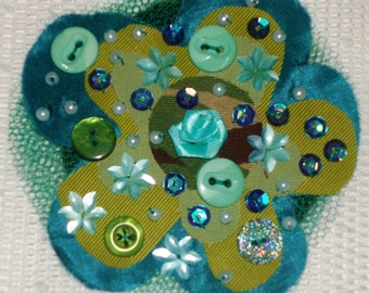 "OOAK Fabric Brooch ""Tingling Teal"""
