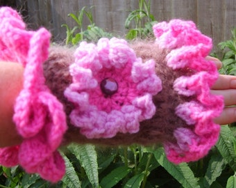 Crochet pair of fingerless gloves (wristwarmers) with frills & embellished with flower