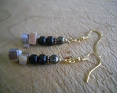 Natural Mother of Pearl Shell Jewelry Beaded Earrings Wood Copper Beads Earth Toned Gold Findings