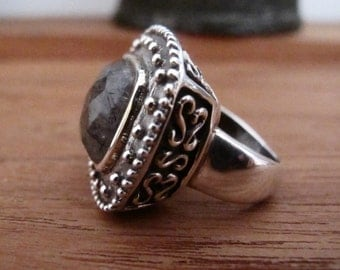 The majestic ring - Rutilated quartz and sterling silver ring