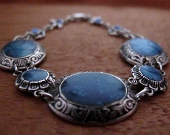 Blue enamel and oxidized sterling silver vintage bracelet