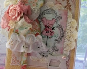 Vintage Inspired shabby chic Girl Friend Embellished handmade card