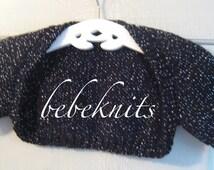 Hand Knit Fancy Black Sparkle Baby Bolero Sweater