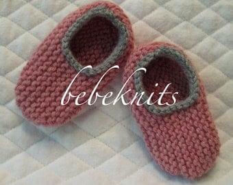 Hand Knit Pink and Gray  Baby Slippers