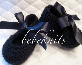 Hand Knit Black Tap Shoes for Baby